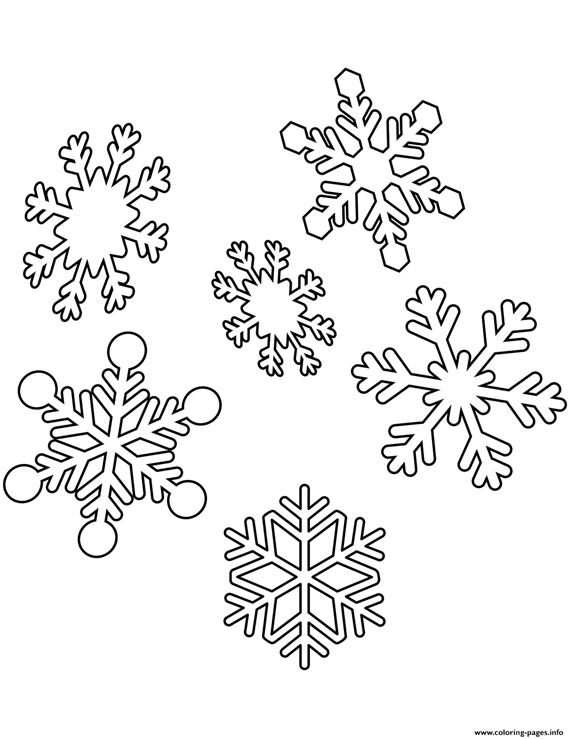 snowflake color page - snowflakes christmas coloring pages printable