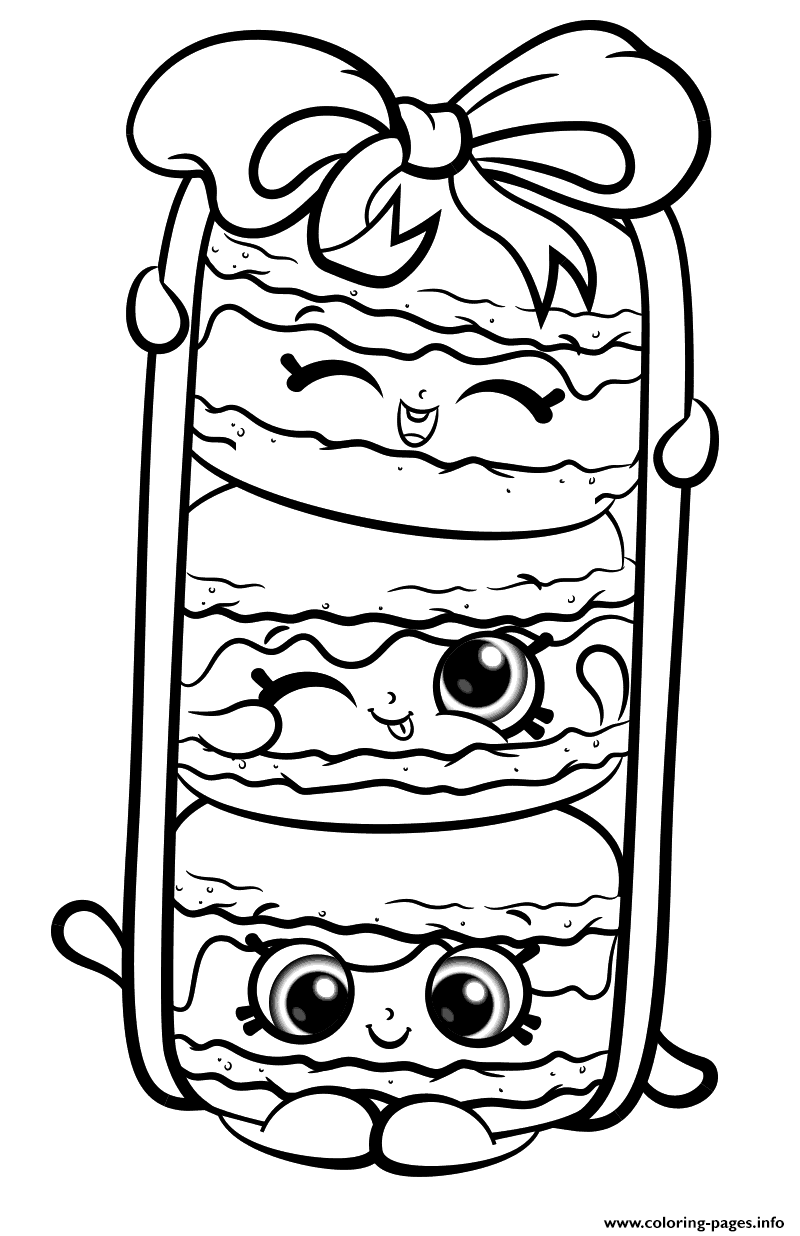 Stack Le Macarons From Shopkins Season 8 Coloring Pages