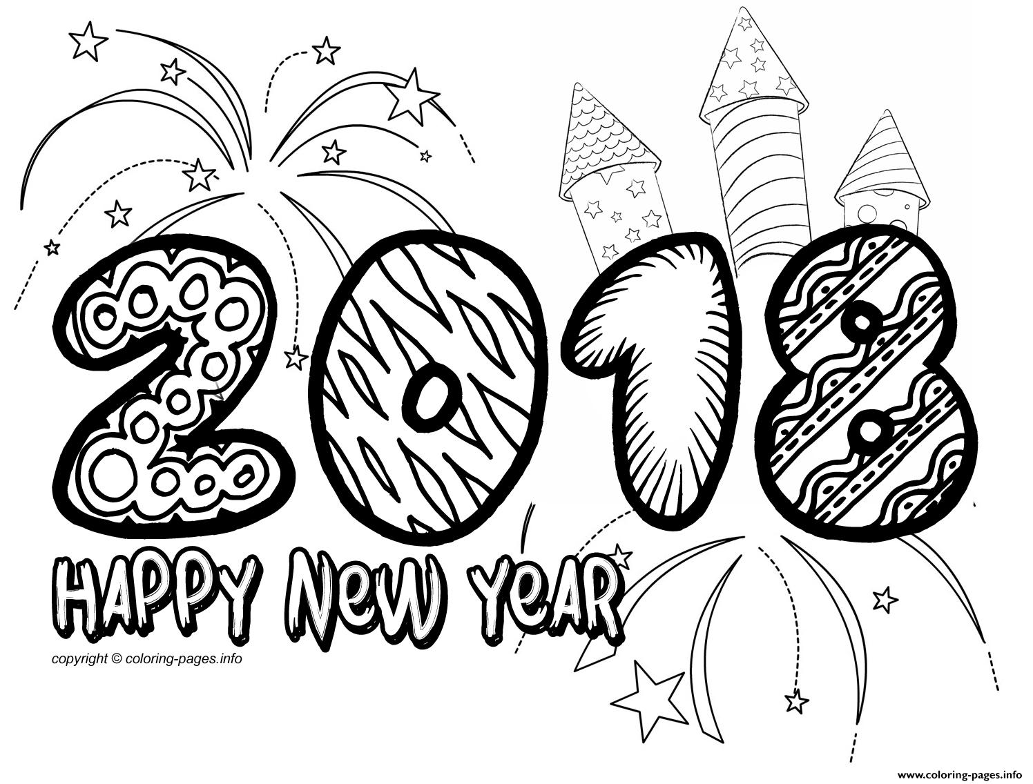 Happy New Year 2018 Doodle Coloring Pages Printable