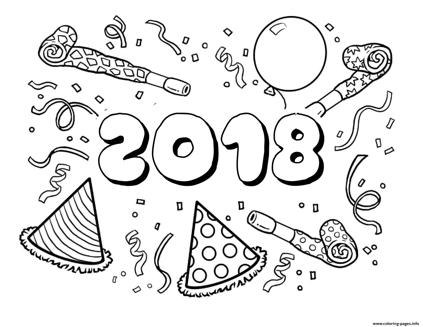 2018 Happy New Year Coloring Pages Printable
