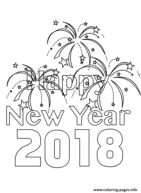 Happy New Year 2018 Fireworks Coloring Pages Printable