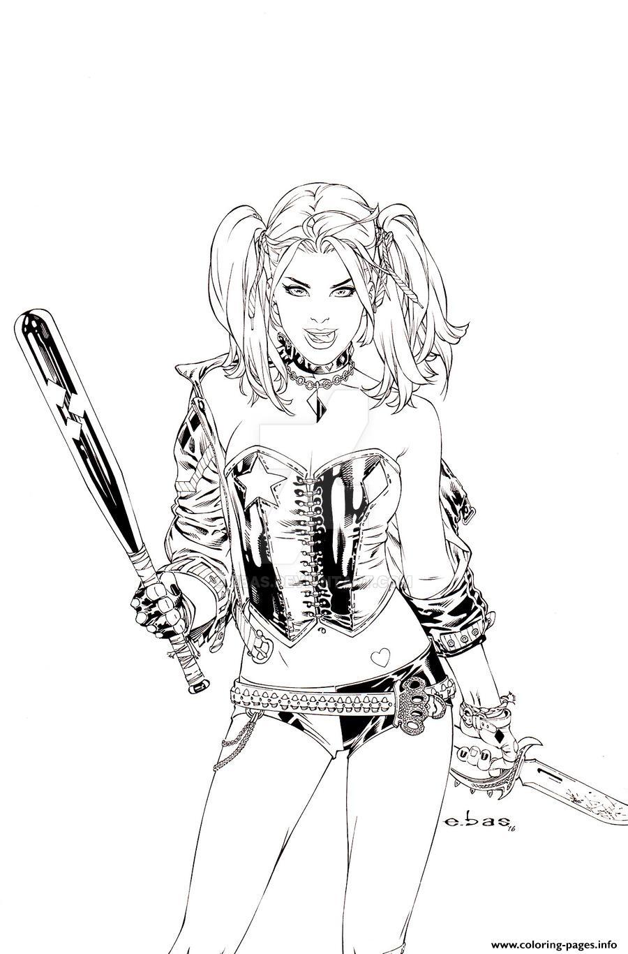 Harley Quinn By Ebas Daaofp7 Coloring Pages Printable