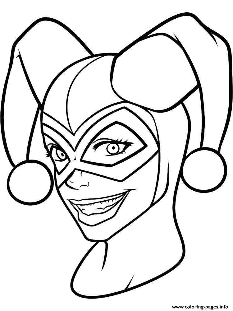 Harley quinn face mask coloring pages printable for Coloring pages masks