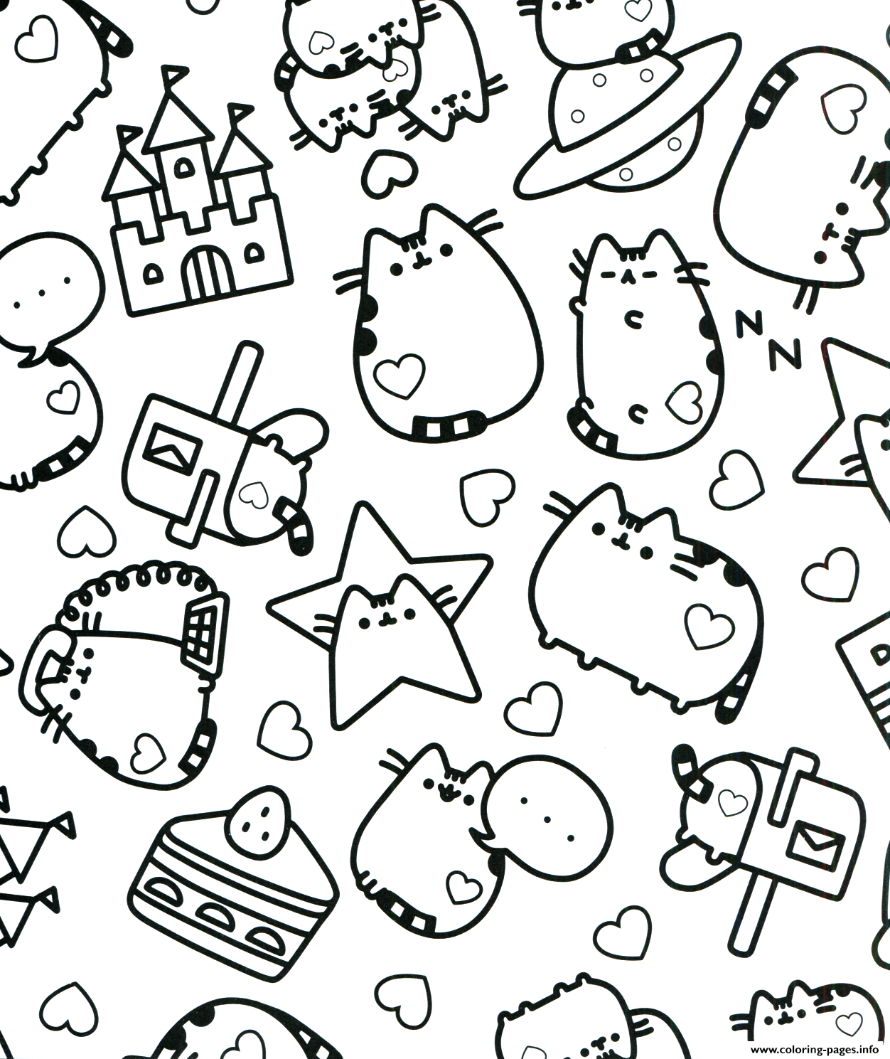Pusheen Adult Stars Coloring Pages Printable