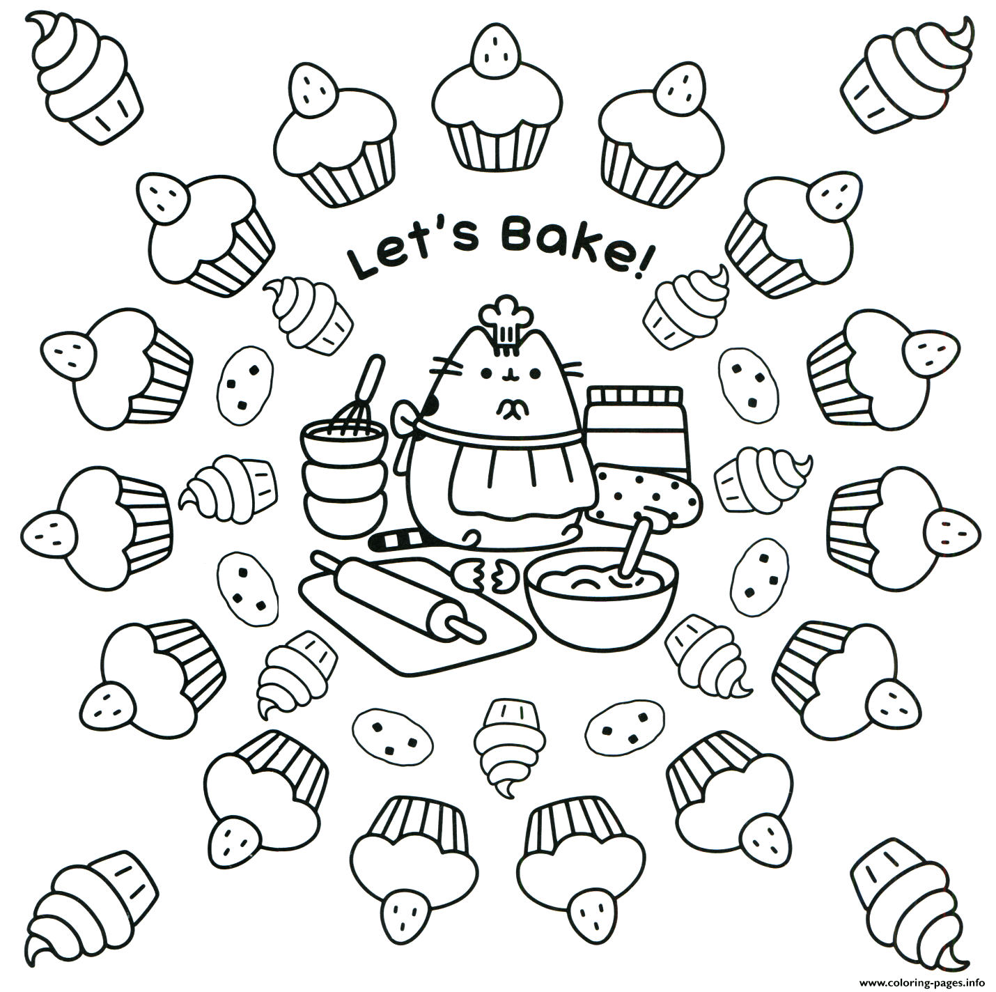Pusheen Lets Bake Coloring Pages Printable