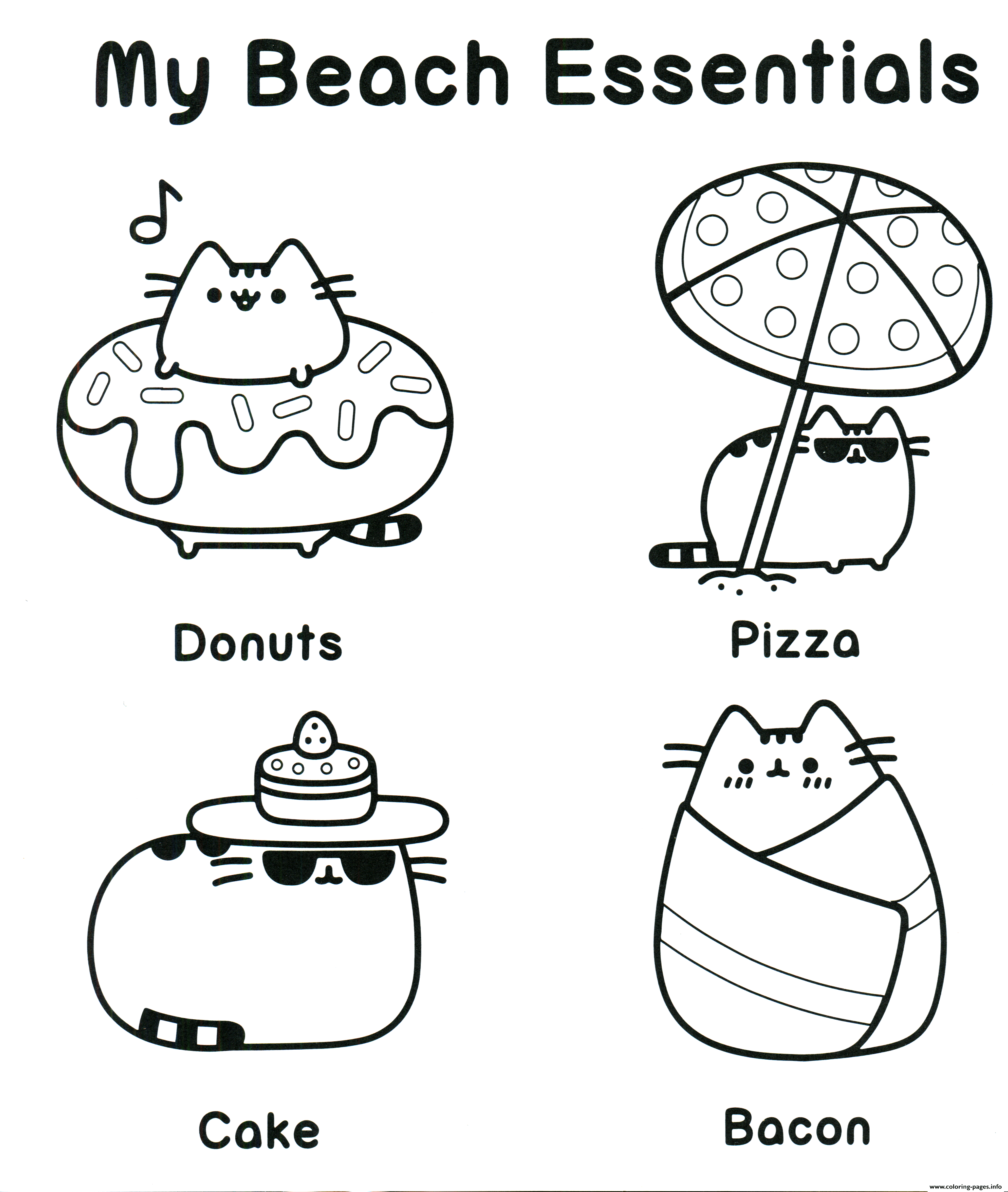 pusheen coloring pages to print Pusheen My Beach Essentials Coloring Pages Printable pusheen coloring pages to print