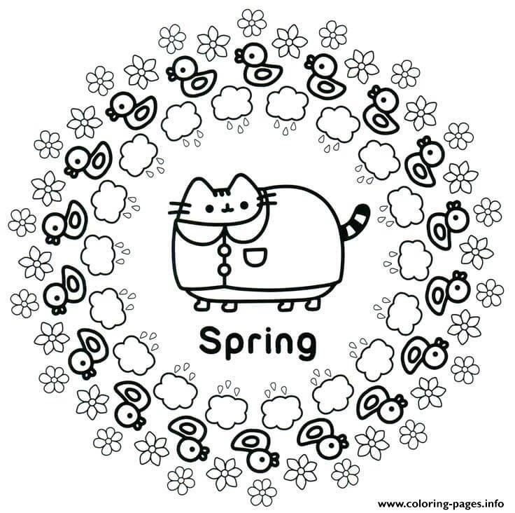 Pusheen Spring Coloring Pages Printable