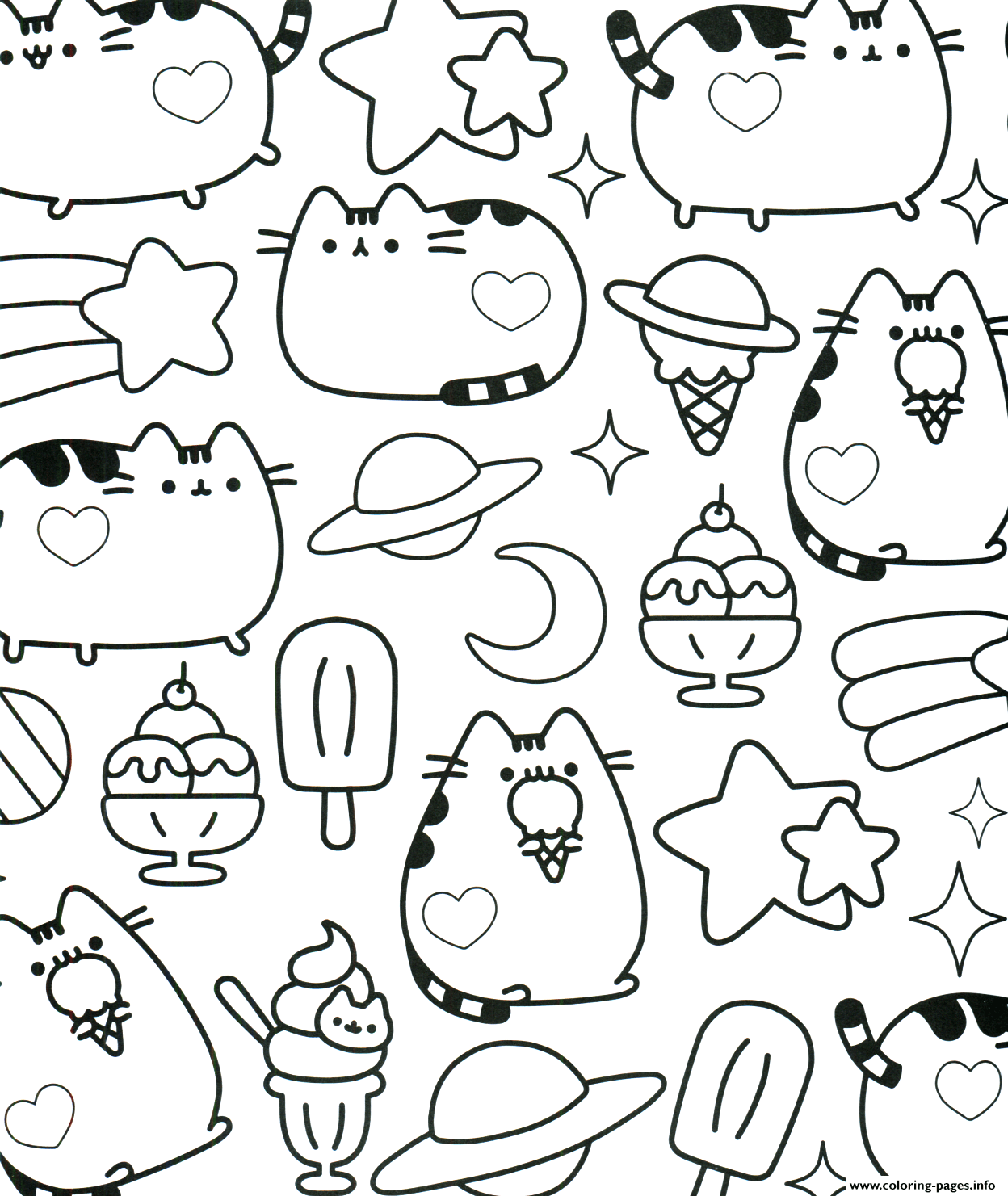pusheen coloring pages to print Kawaii Pusheen Coloring Pages Printable pusheen coloring pages to print