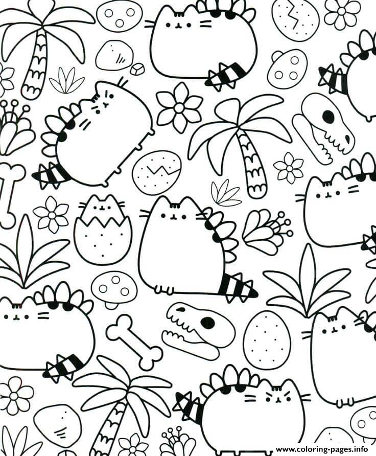 Pusheen Therapy For Adults Coloring Pages Printable