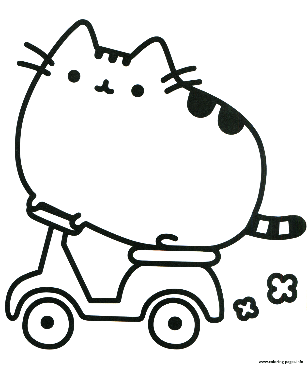 image about Pusheen Printable known as Pusheen Cat Upon Scooter Coloring Webpages Printable