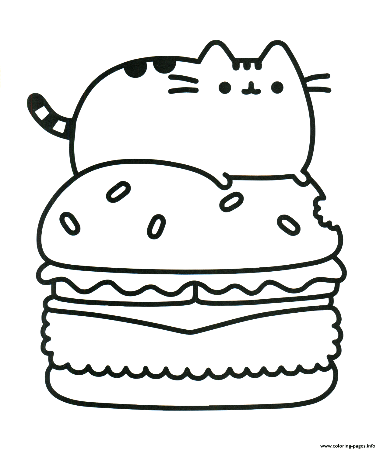 Pusheen Hamburger Food Coloring Pages Printable