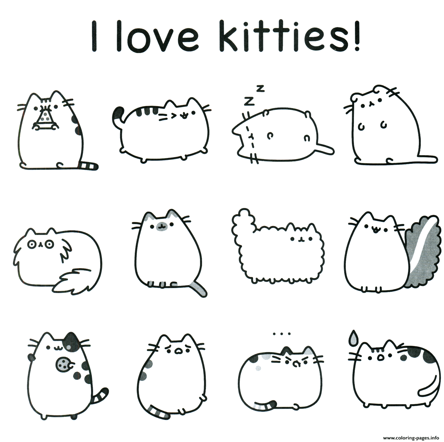 Pusheen I Love Kitties coloring pages