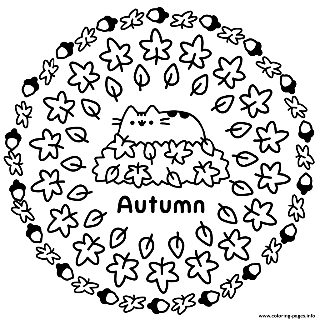 Pusheen Autumn Coloring Pages Printable
