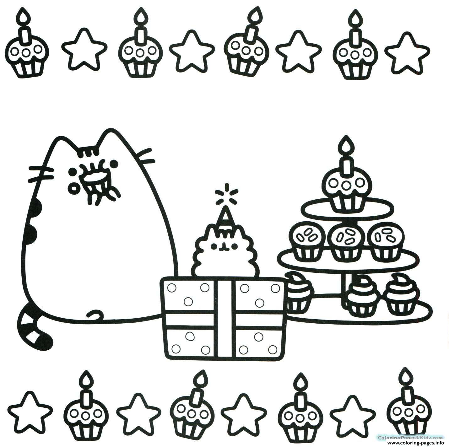Pusheen Cupcake Party Gifts coloring pages