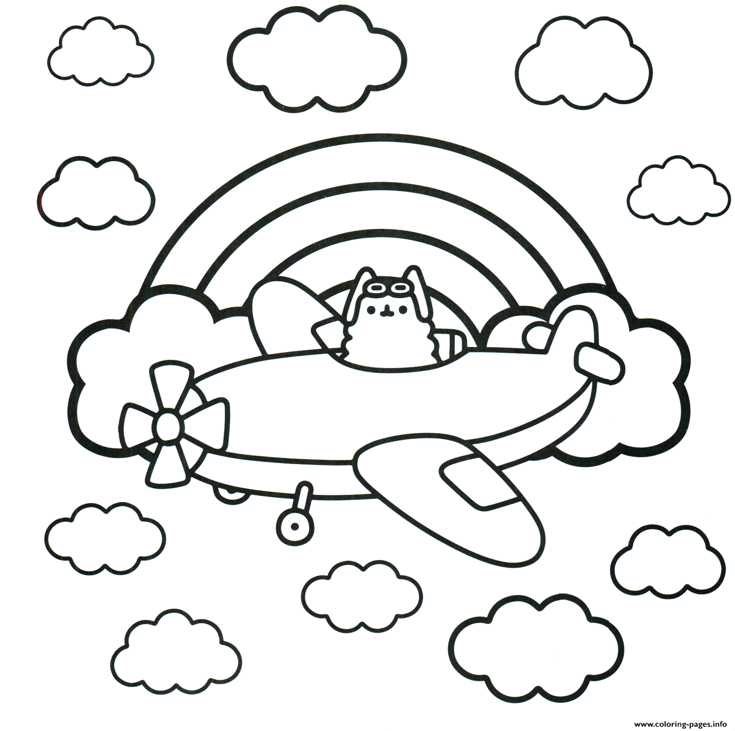 Pusheen Real Pilot In A Plane Coloring Pages Printable