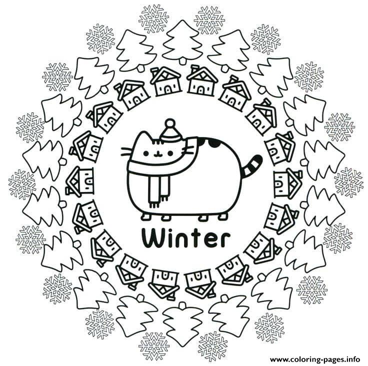 Pusheen Winter Coloring Pages Printable