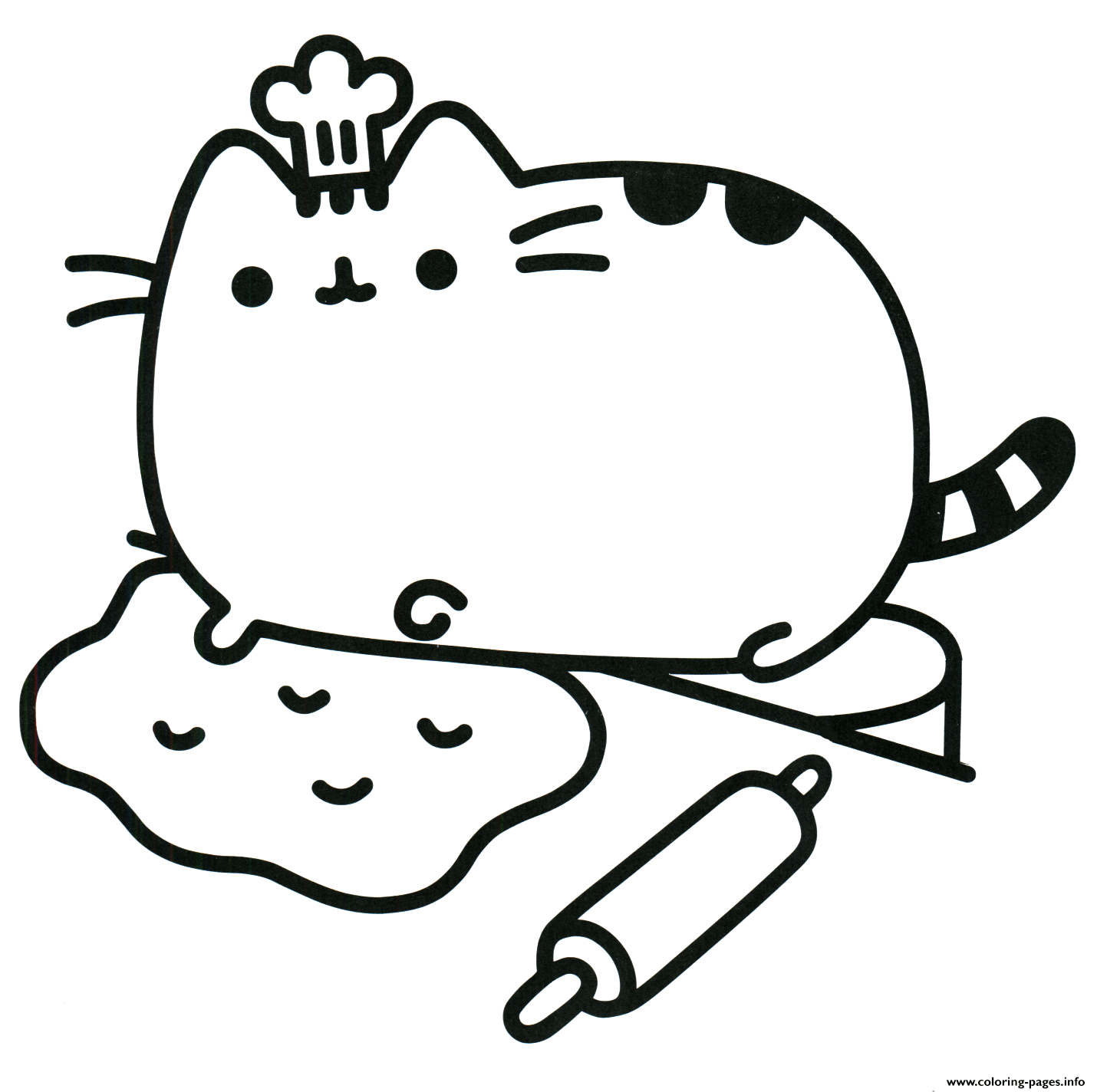 Pusheen The Cat Chef Cook Coloring Pages Printable