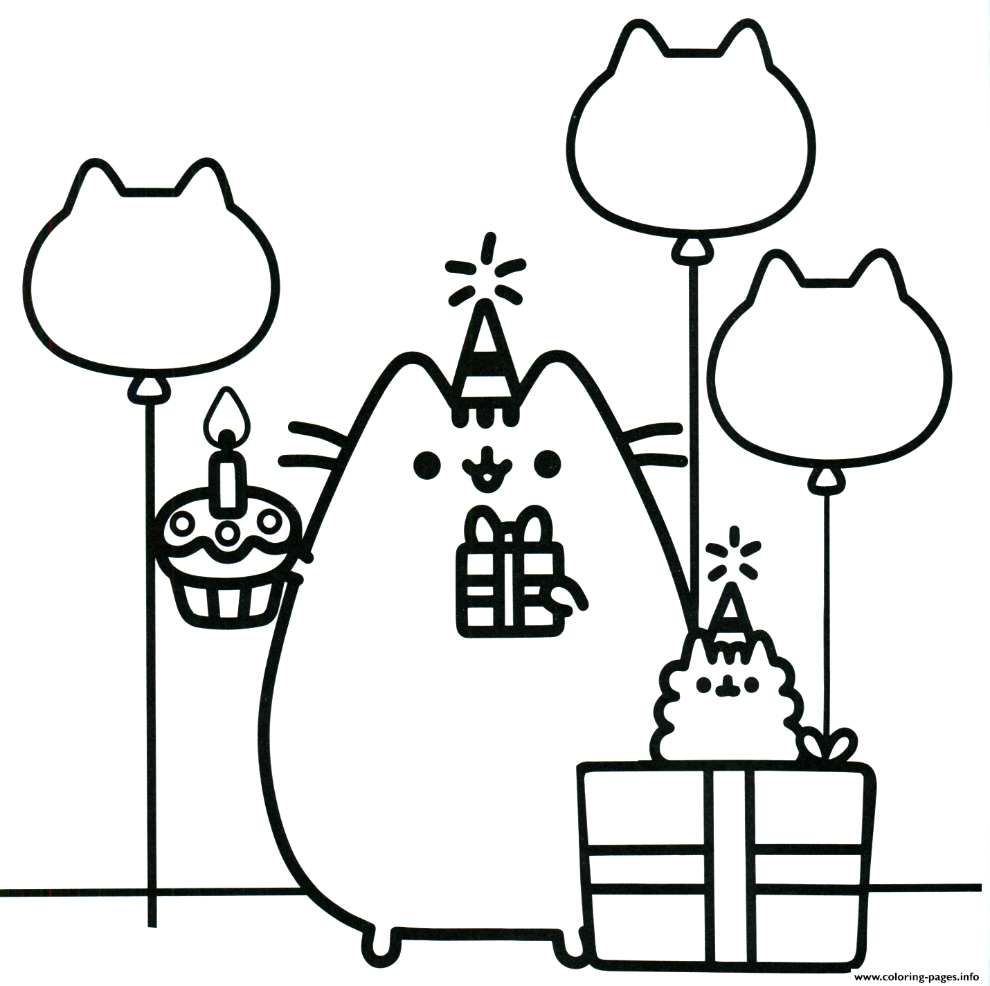 pusheen coloring pages printable Pusheen The Cat Party Coloring Pages Printable pusheen coloring pages printable