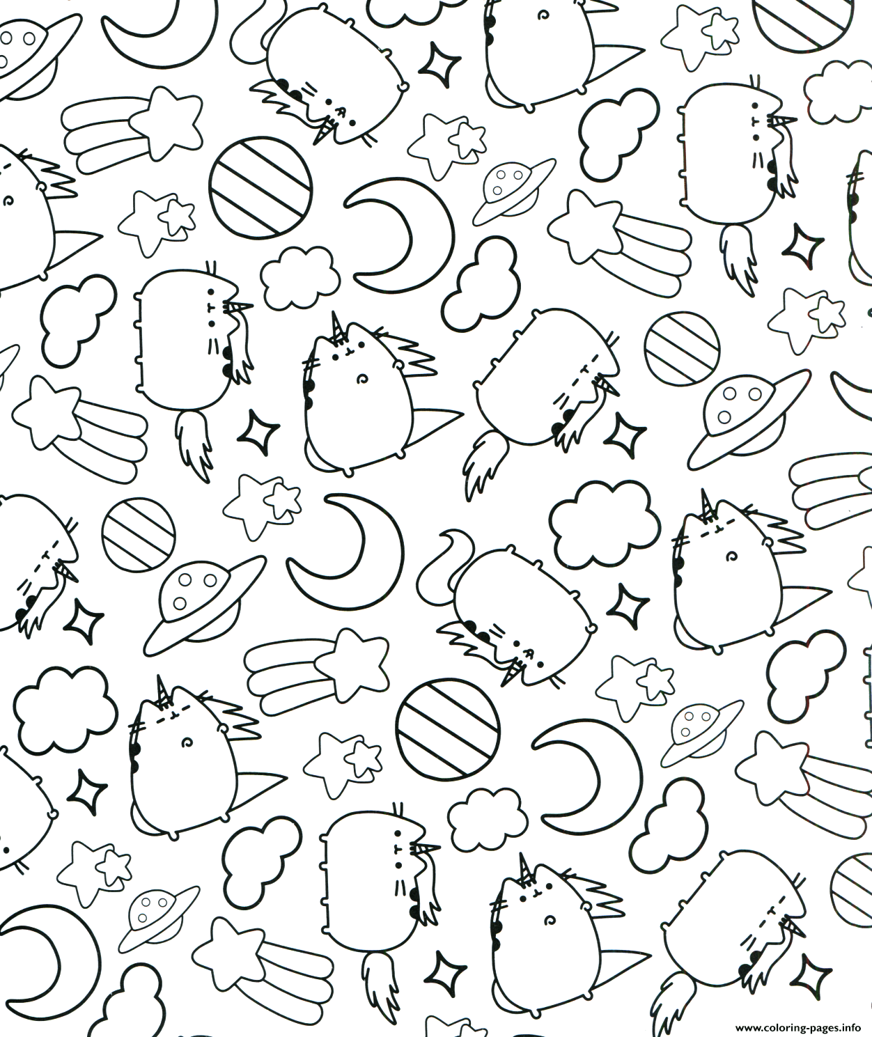 Pusheen The Cat Sleep Pattern Coloring