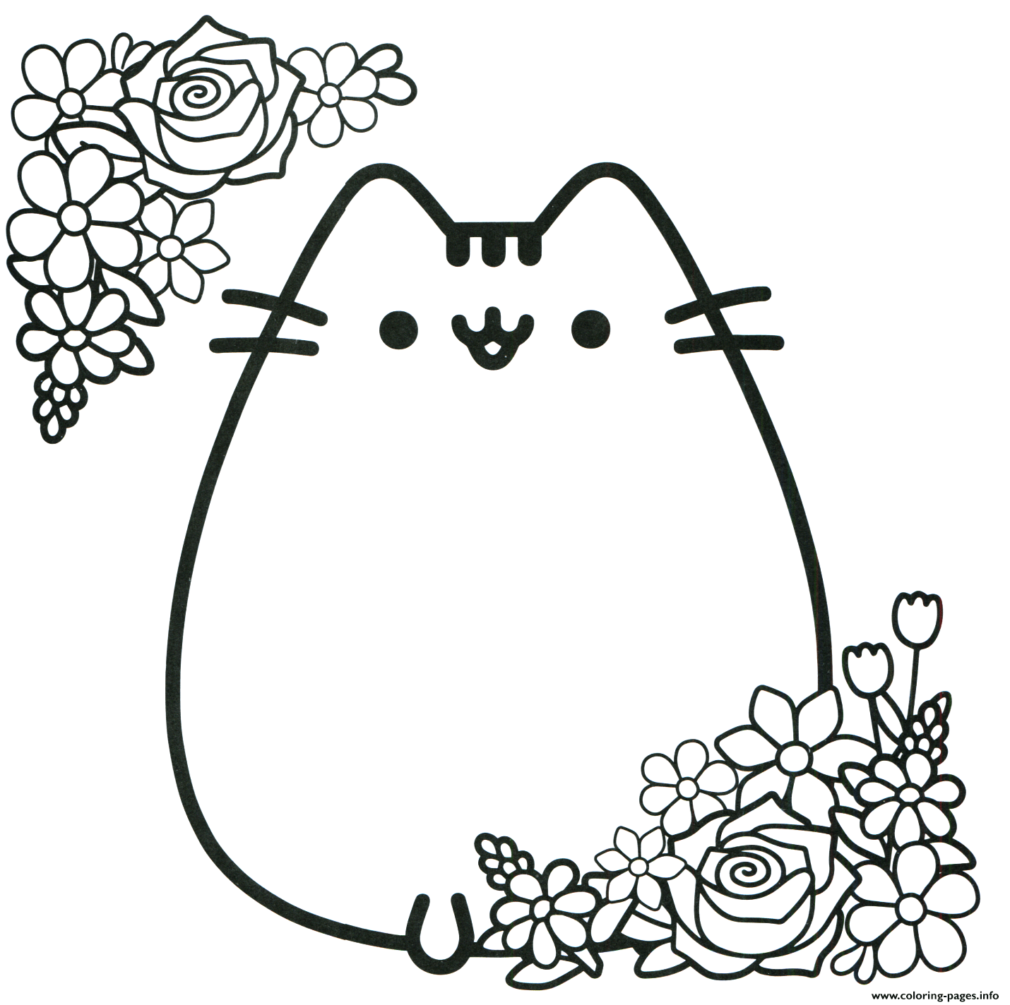 Pusheen Valentines Days Flowers Coloring Pages Printable