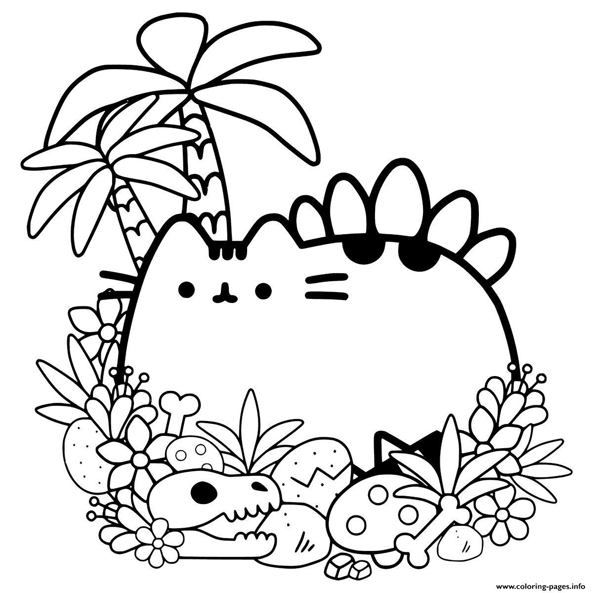 Pusheen Cave Cat Coloring Pages