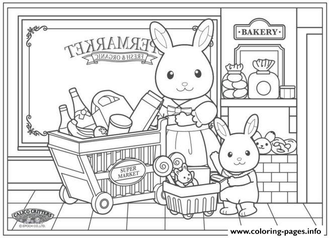 Super Market Sylvanian Families Carlico Critters Coloring Pages ...