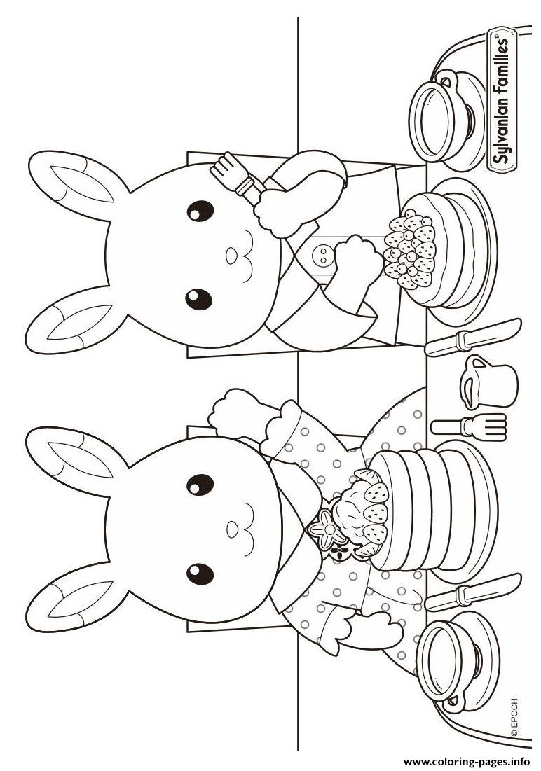 Sylvanian Familys Cooking Cupcakes coloring pages