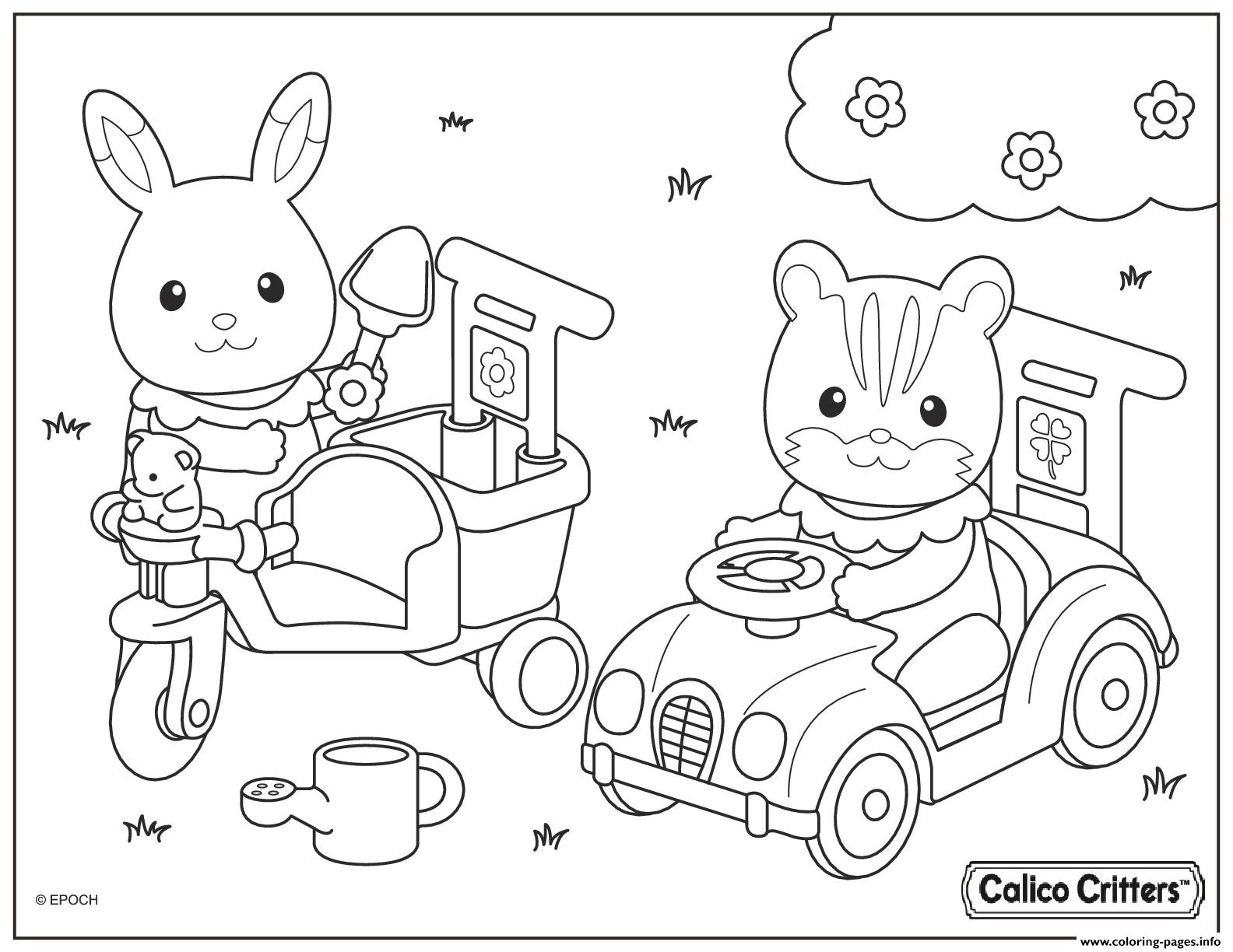 Calico critters drive car with friend coloring pages printable for Little critter coloring pages