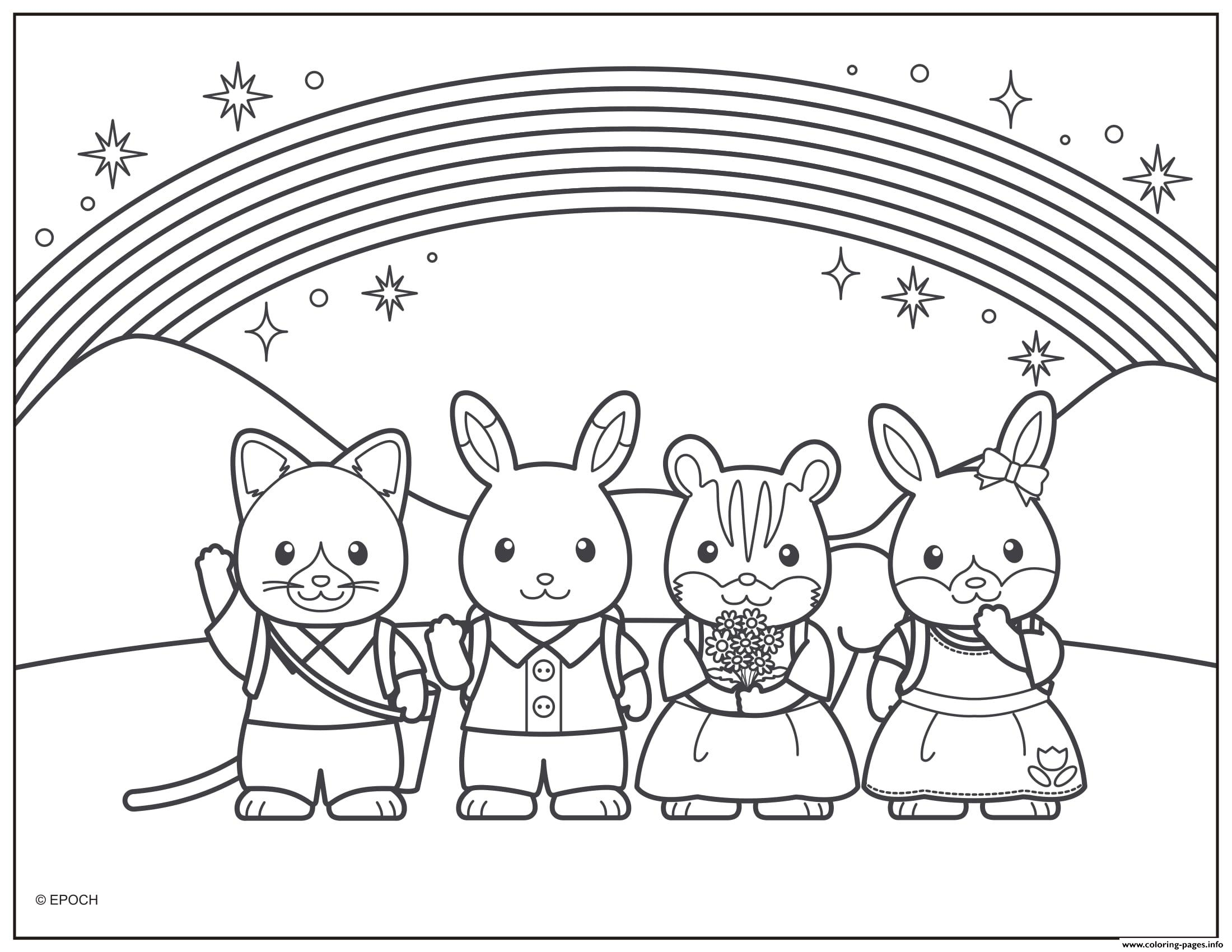 calico critters rainbow with friends coloring pages - Friends Coloring Pages