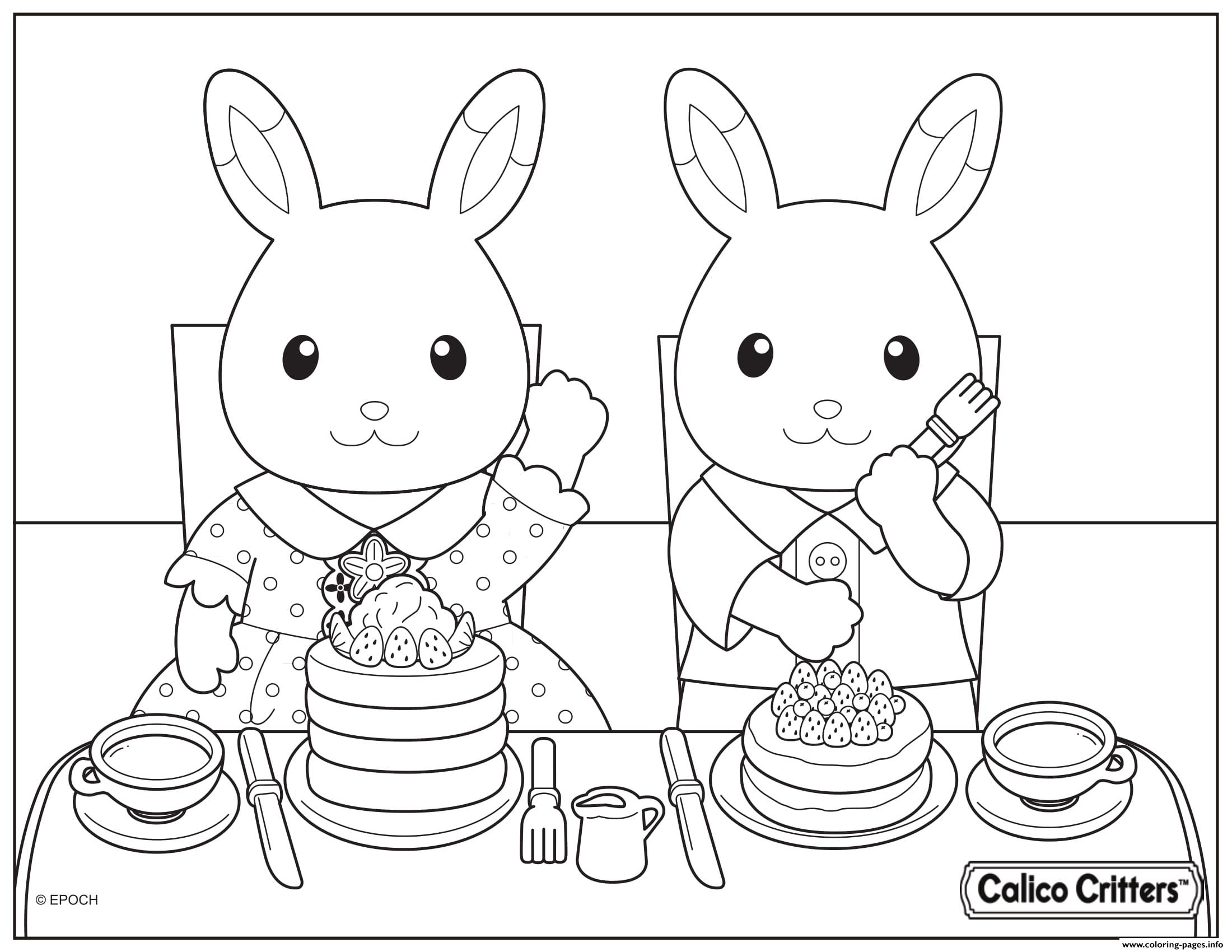 Calico Critters Eating Delicious Pancake Coloring Pages
