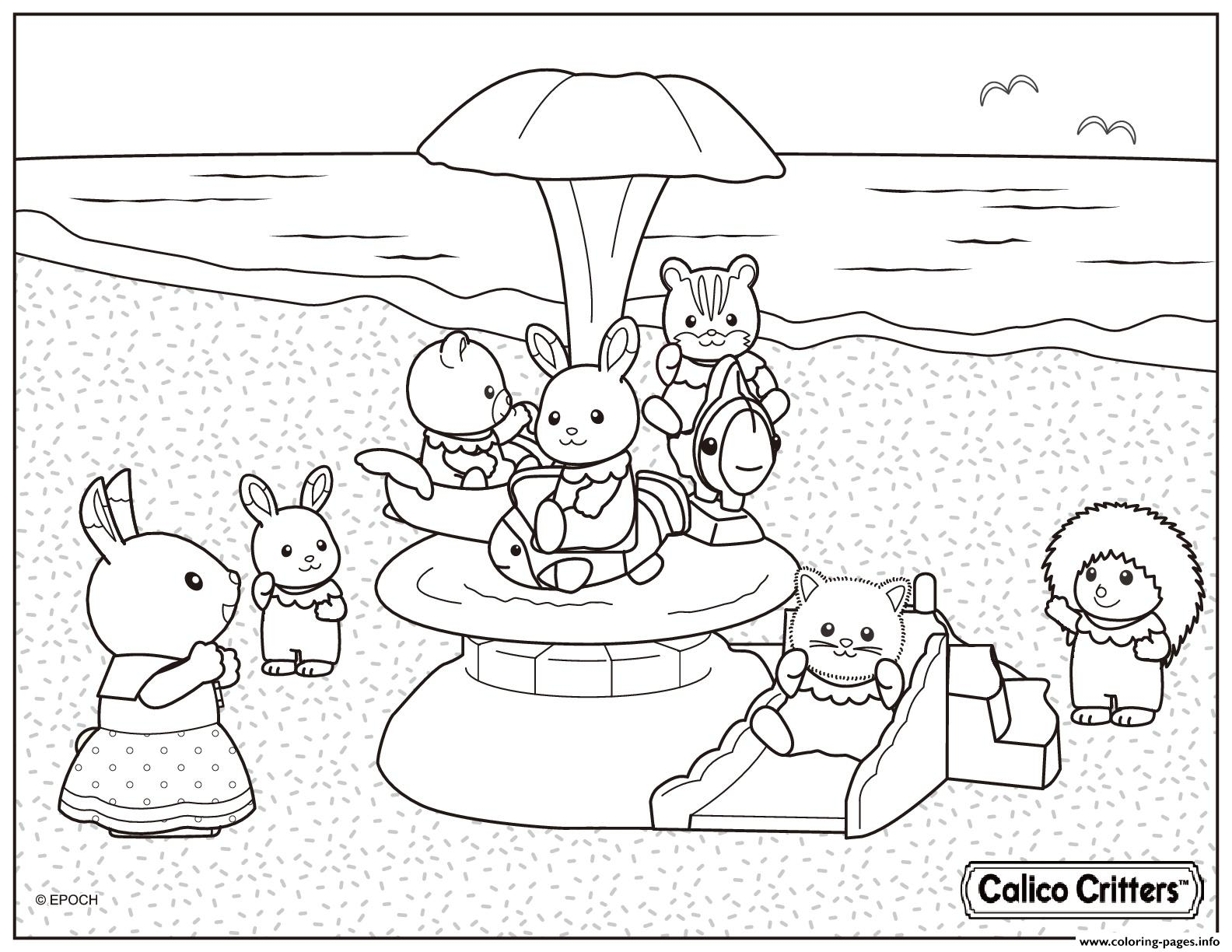Calico Critters In The Beach For Vacation Coloring Pages ...