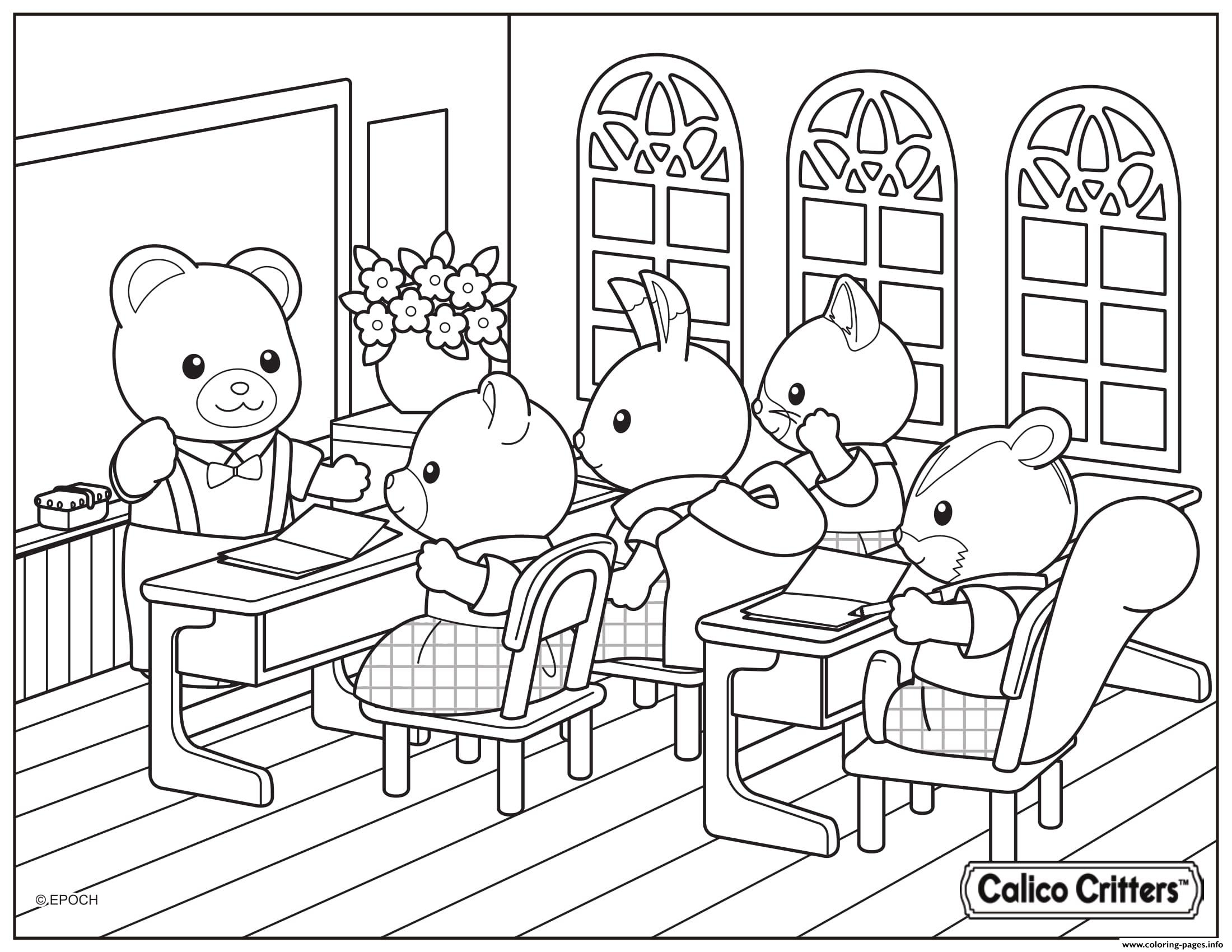 Calico Critters School Learning Coloring Pages Printable