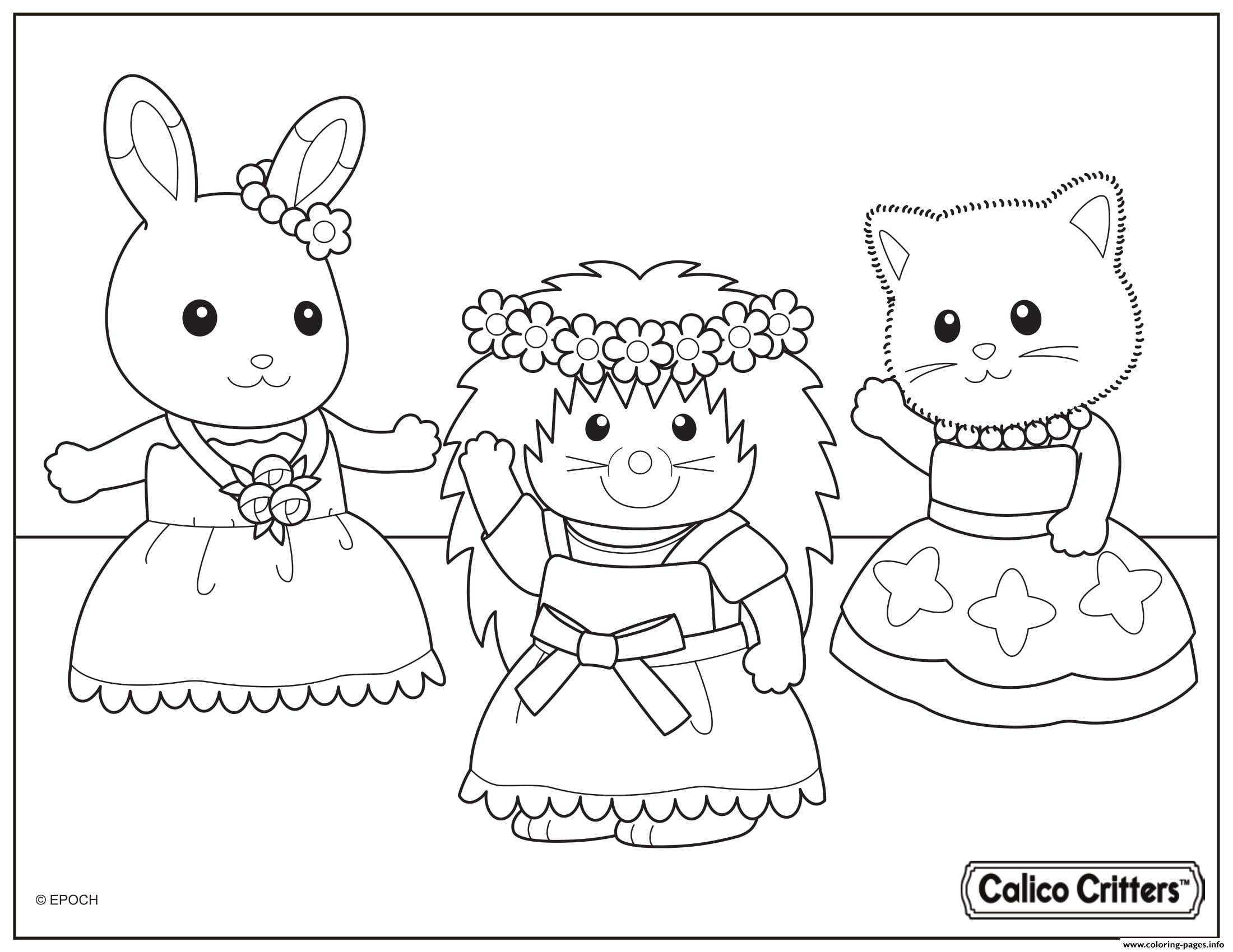 Calico critters dance party time coloring pages printable for Little critter coloring pages