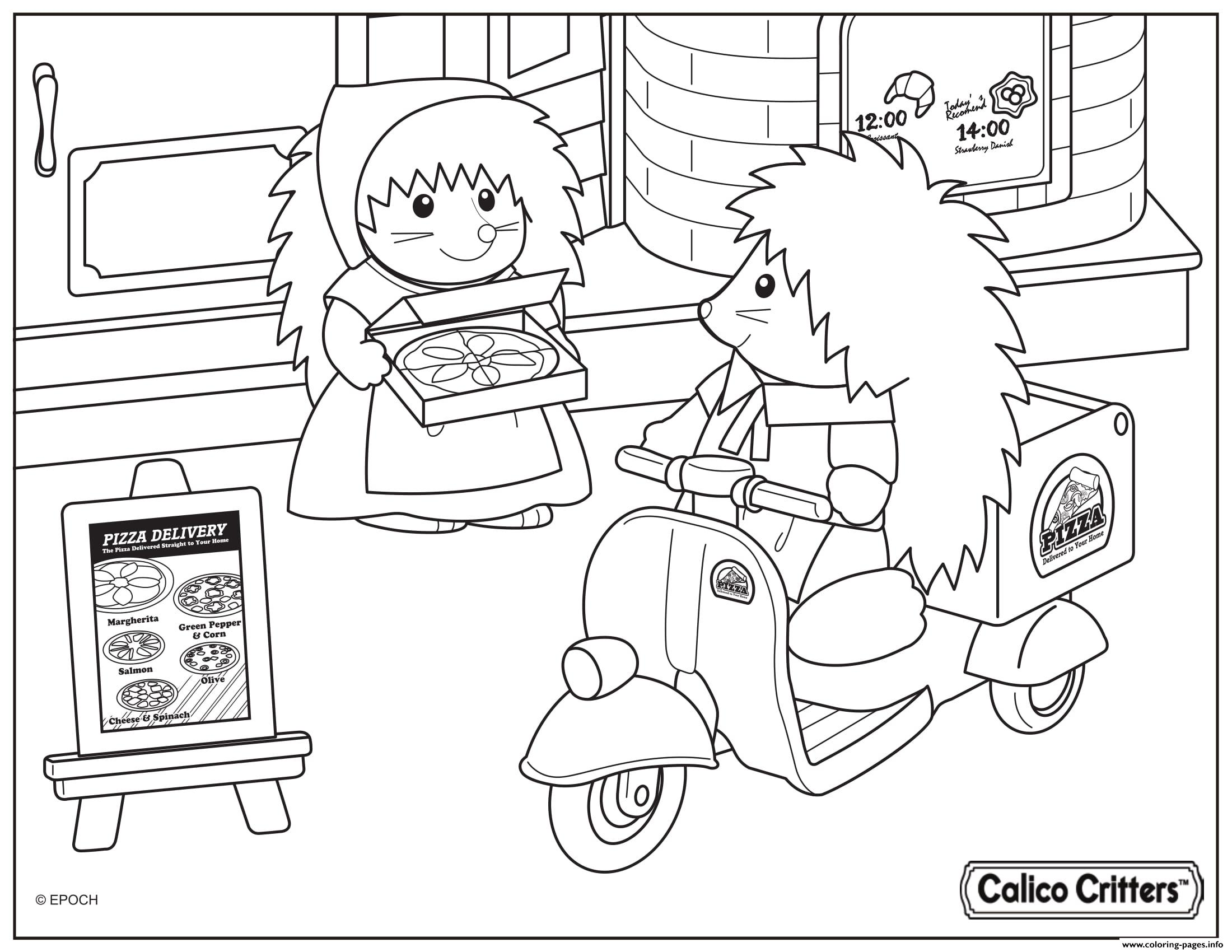 Calico Critters Pizza Delivery coloring pages