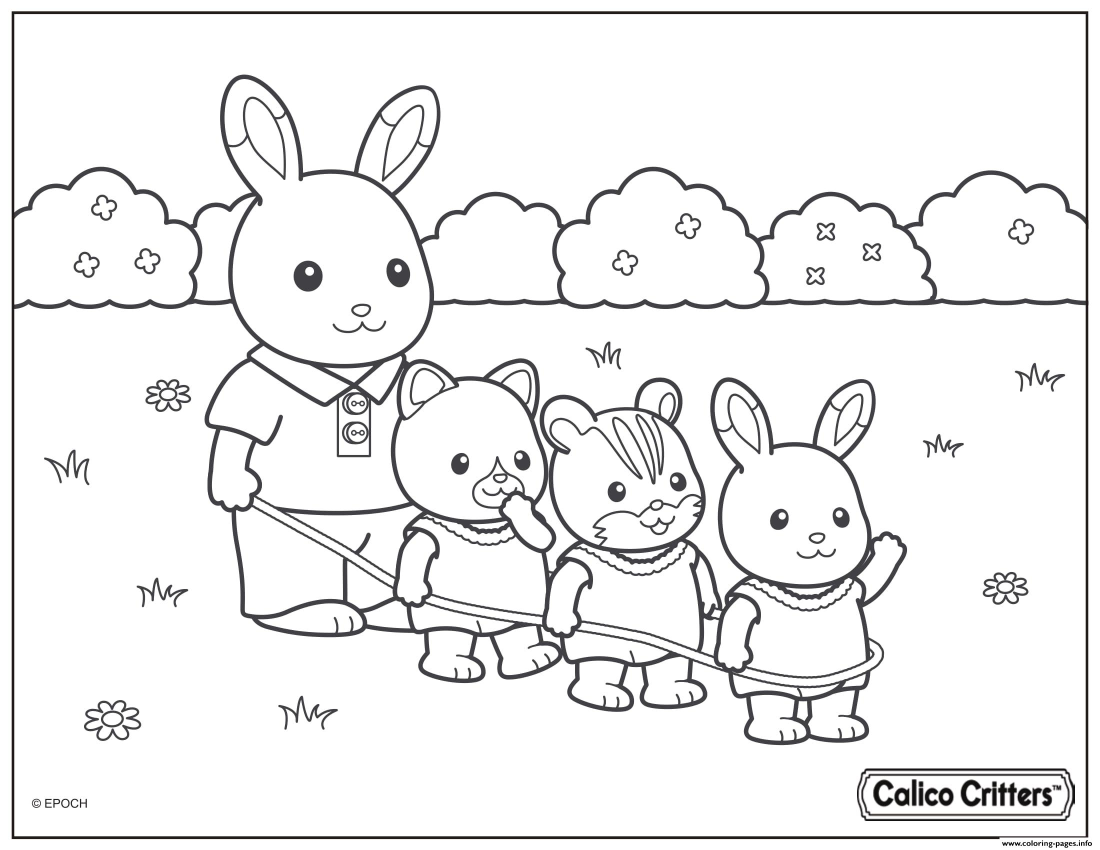 Calico Critters Playing With Kids In The Yard coloring pages