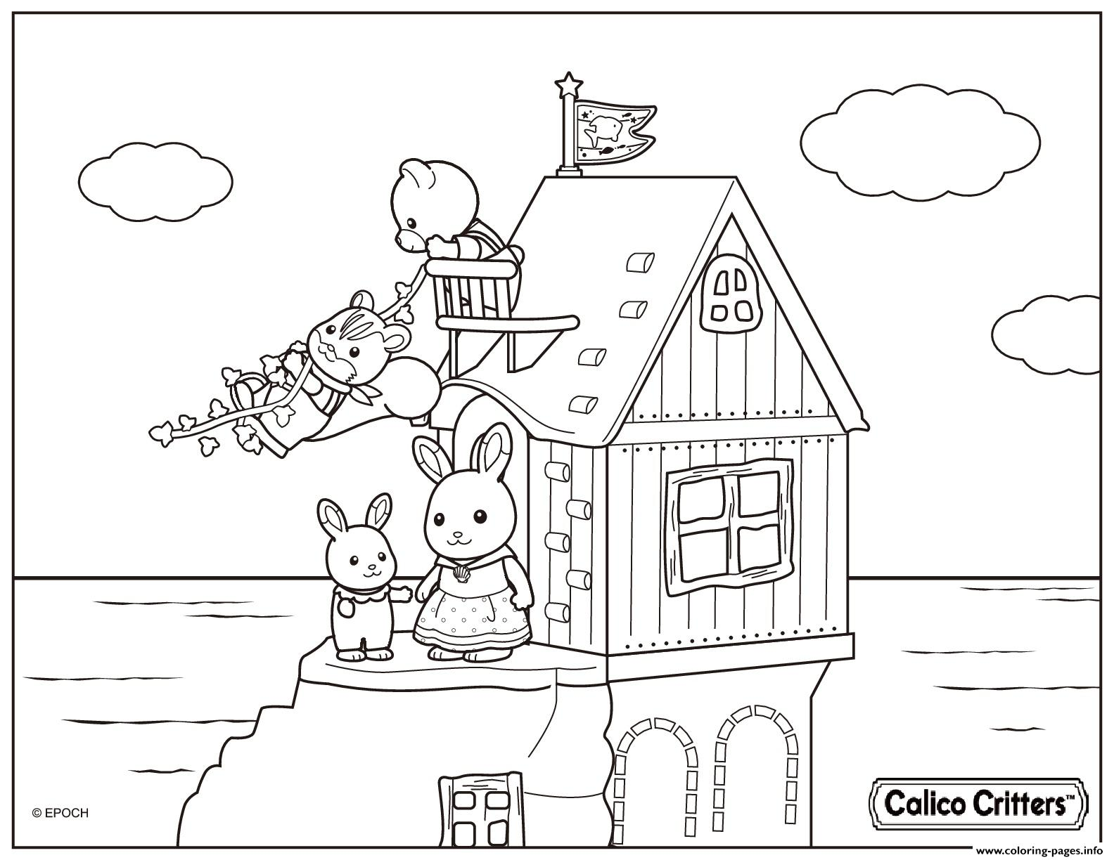 Calico critters house beach coloring pages printable