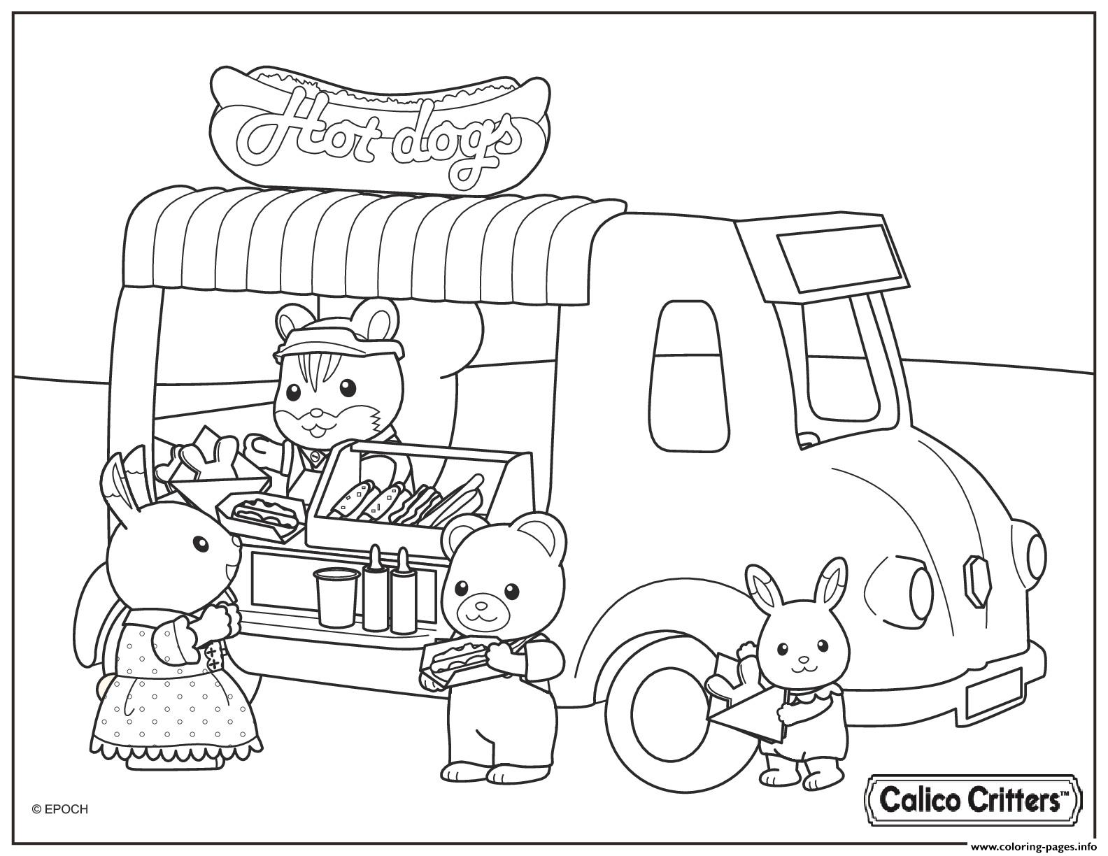 Calico Critters Selling Hot Dogs Coloring Pages Printable