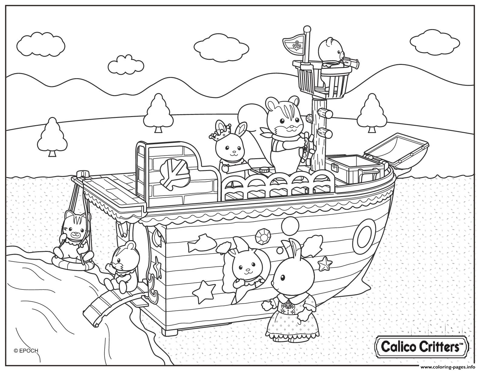 Calico critters boat trip captain coloring pages printable for Little critter coloring pages