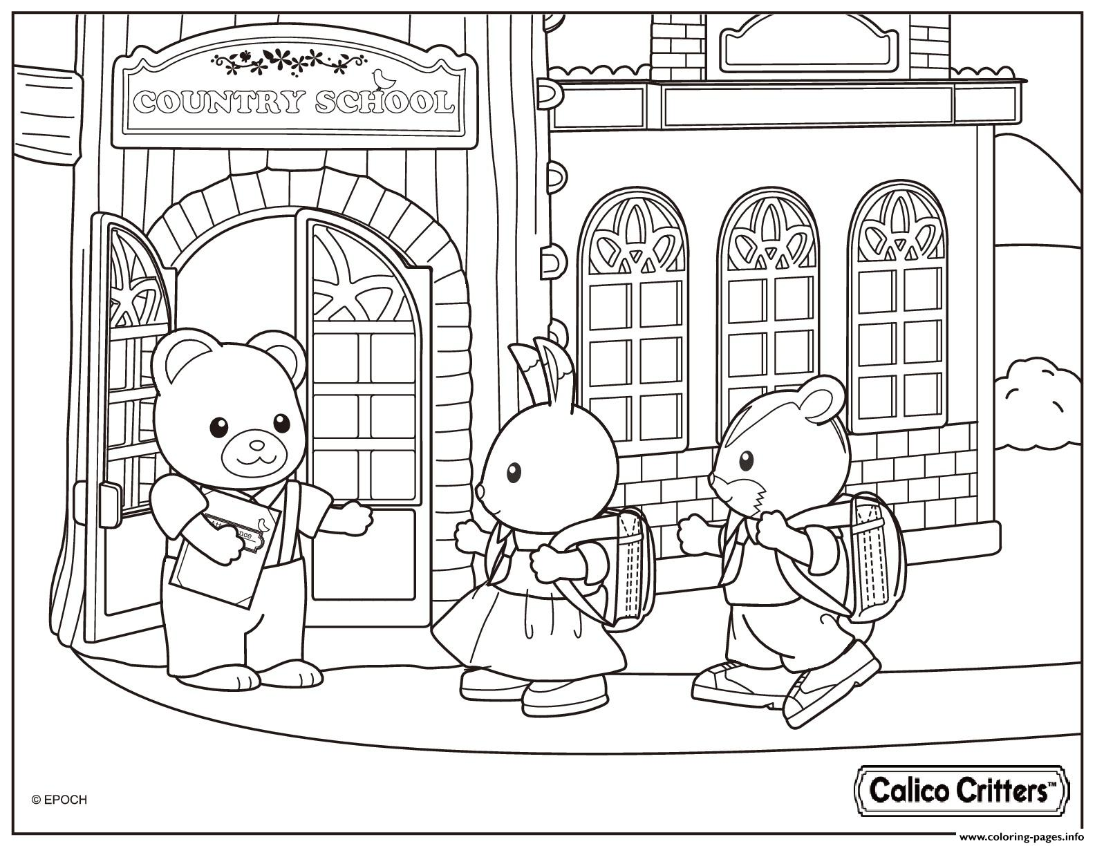 Calico Critters Country School Coloring Pages Printable