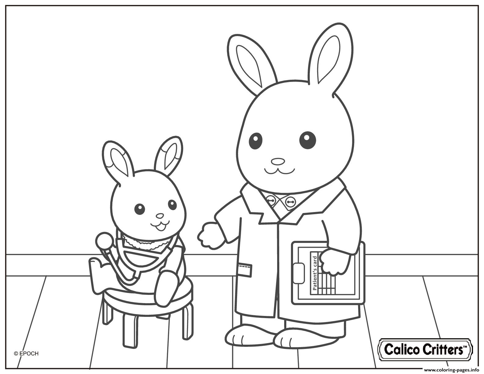 Calico critters doctor health coloring pages printable for Little critter coloring pages