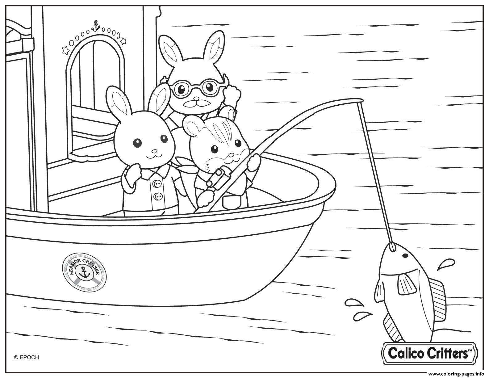 calico critters fishing coloring pages printable