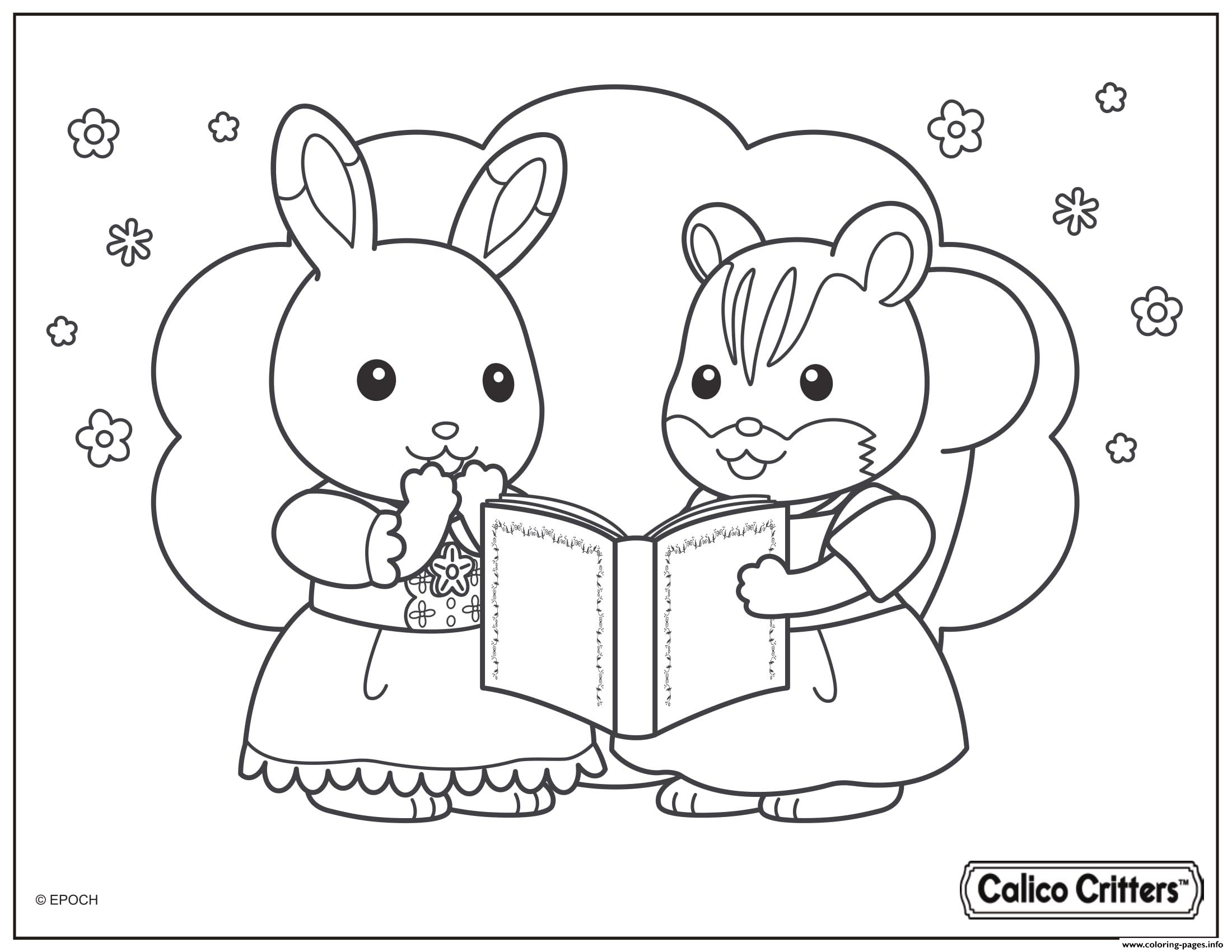 Calico Critters Read Great Story Book Coloring Pages