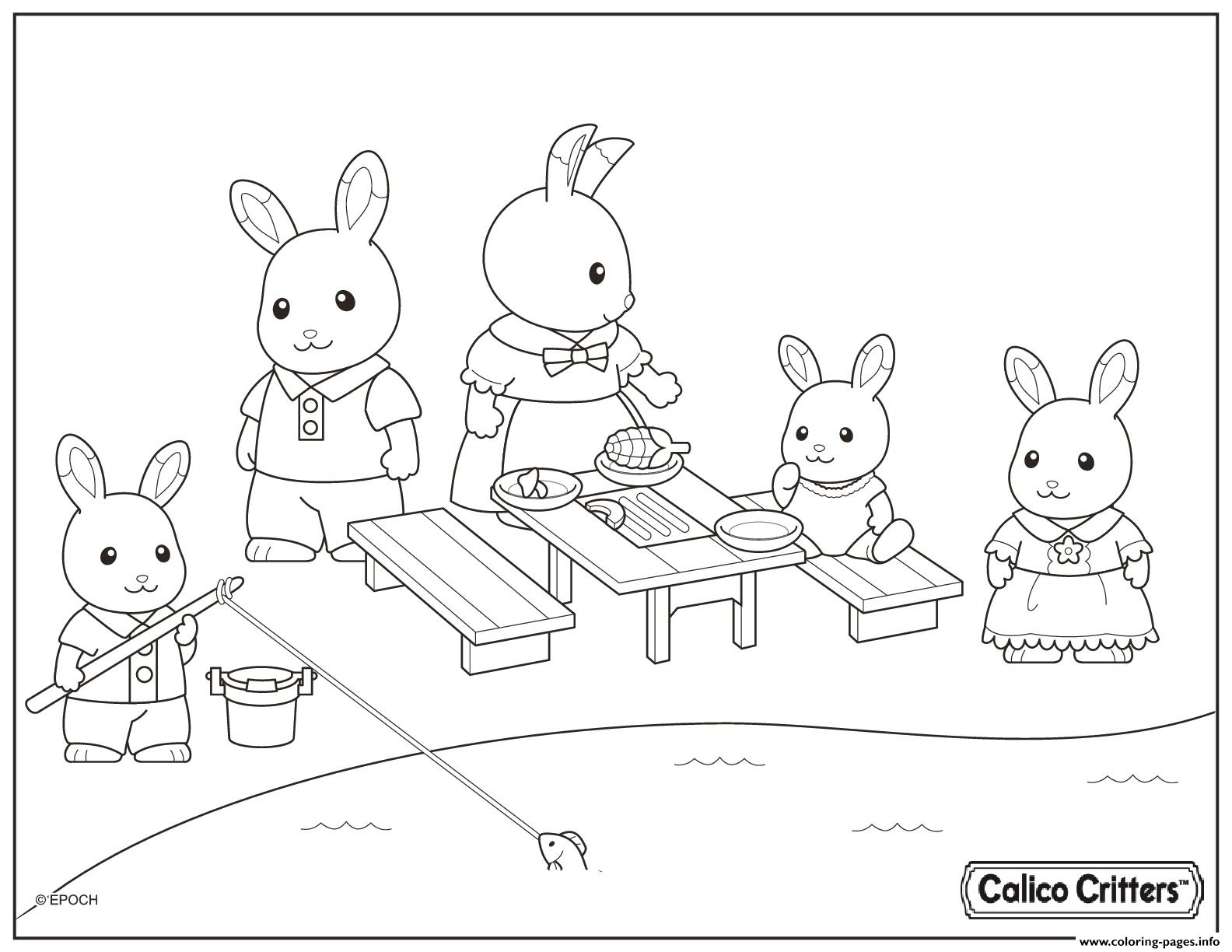 Calico Critters Having Fun Picnic coloring pages