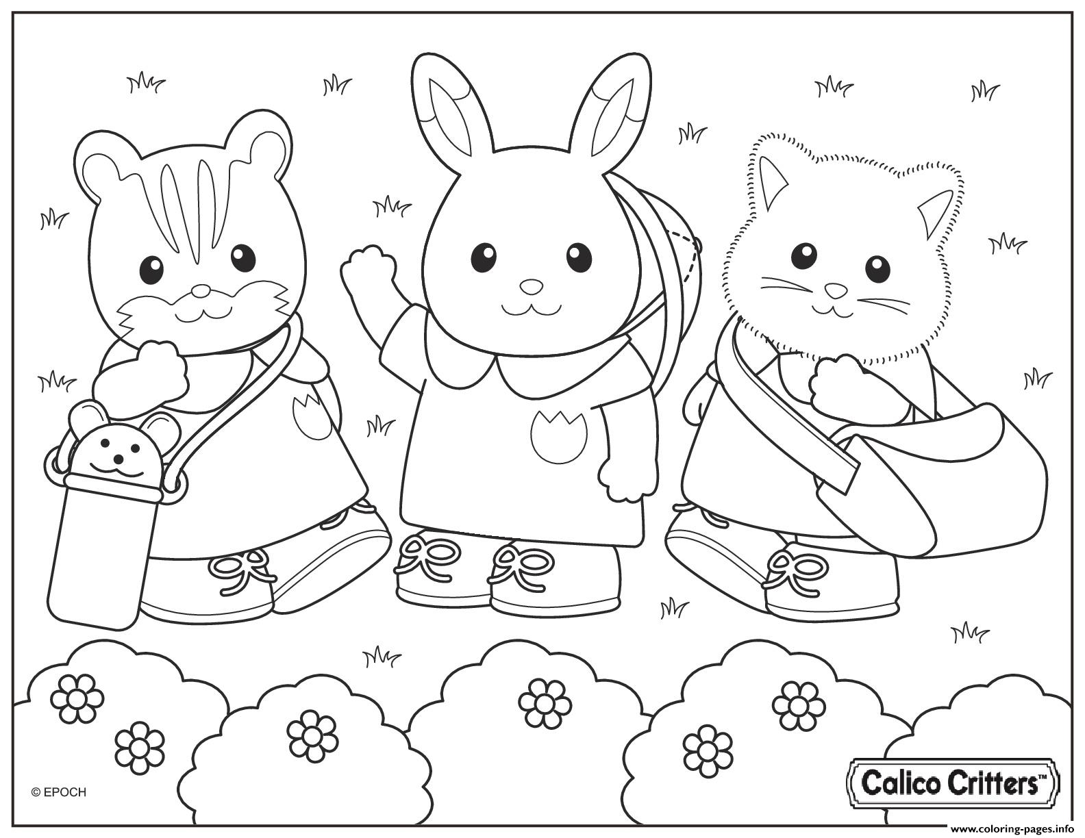 Calico Critters In The Park Coloring Pages Printable