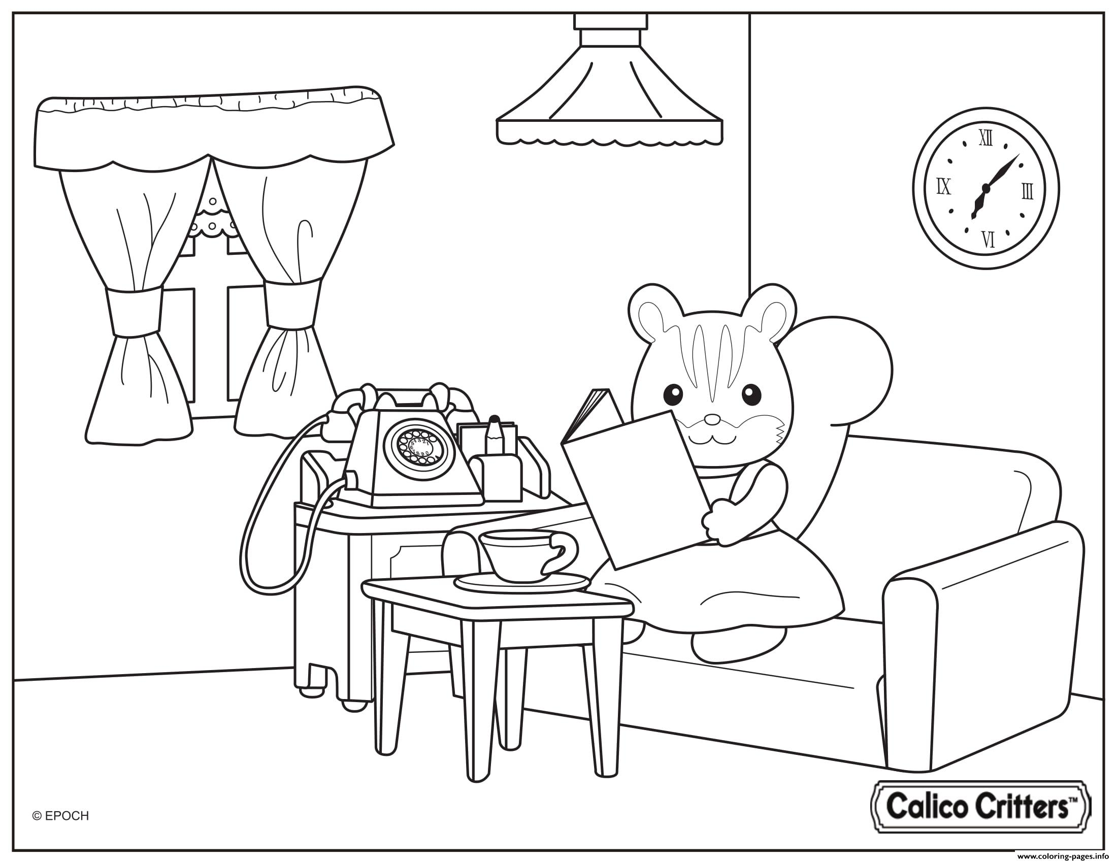 Calico Critters Reading A Book With Coffee coloring pages