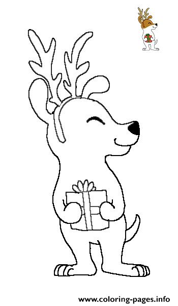 olive the other reindeer with gift coloring pages