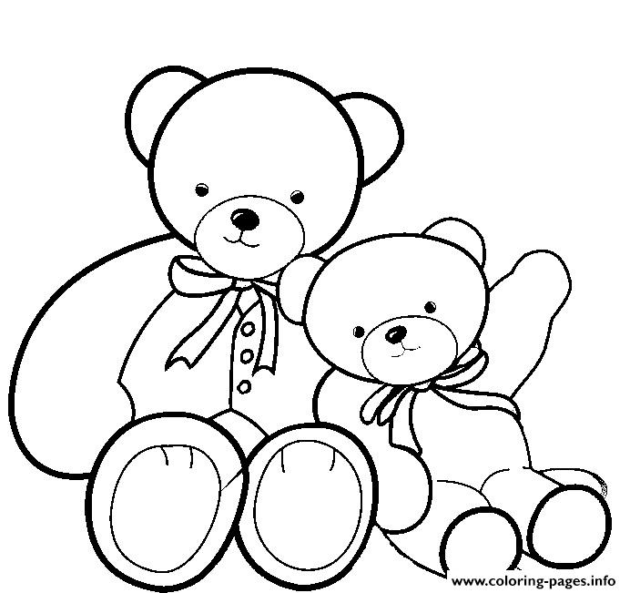 Fancy Teddy Bear With Kid coloring pages