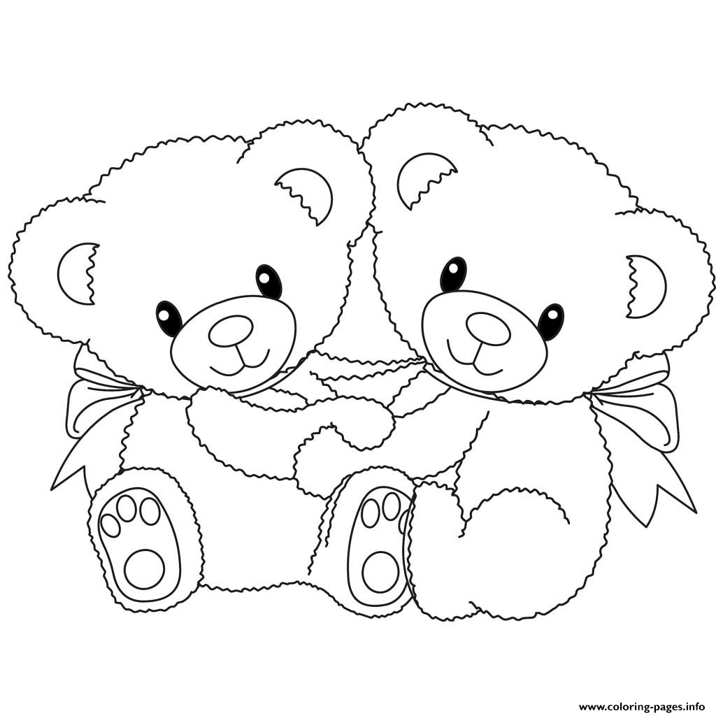 Baby Teddy Bear Love Heart Coloring Pages Printable