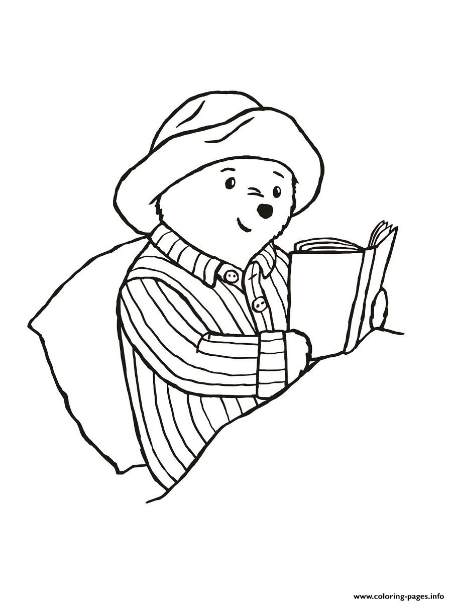 Paddington Reading In The Bed Coloring