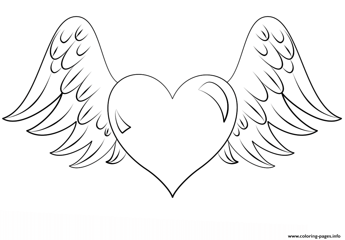 photograph relating to Printable Wings referred to as Centre With Wings Coloring Internet pages Printable